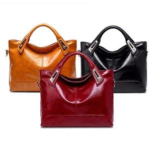 Image 2 - Women Oil Wax Leather Designer Handbags High Quality Shoulder Bags Ladies Handbags Fashion brand PU leather women bags WLHB1398