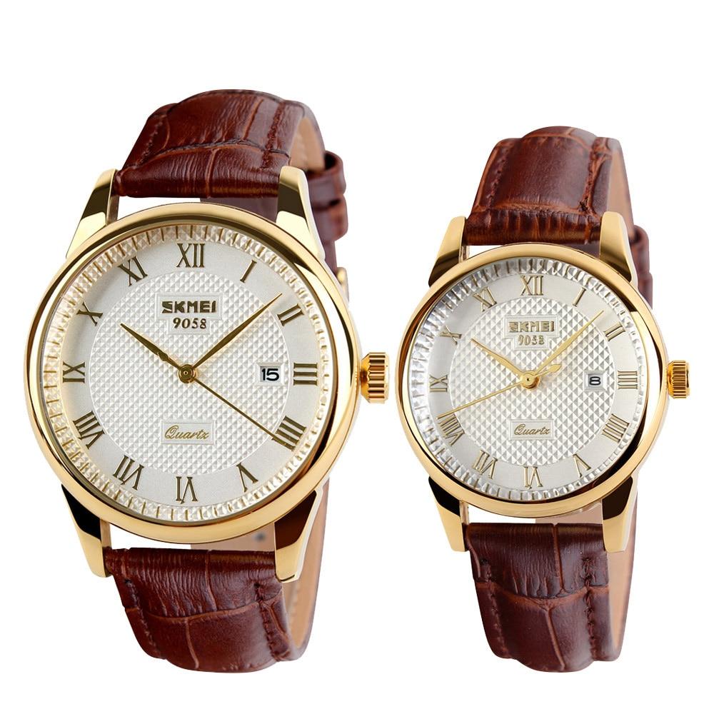 SKMEI Fashion Women Watches Quartz Ladies Watch Top Brand Luxury Leather Strap Wrist Watch Relogio Masculino 9058