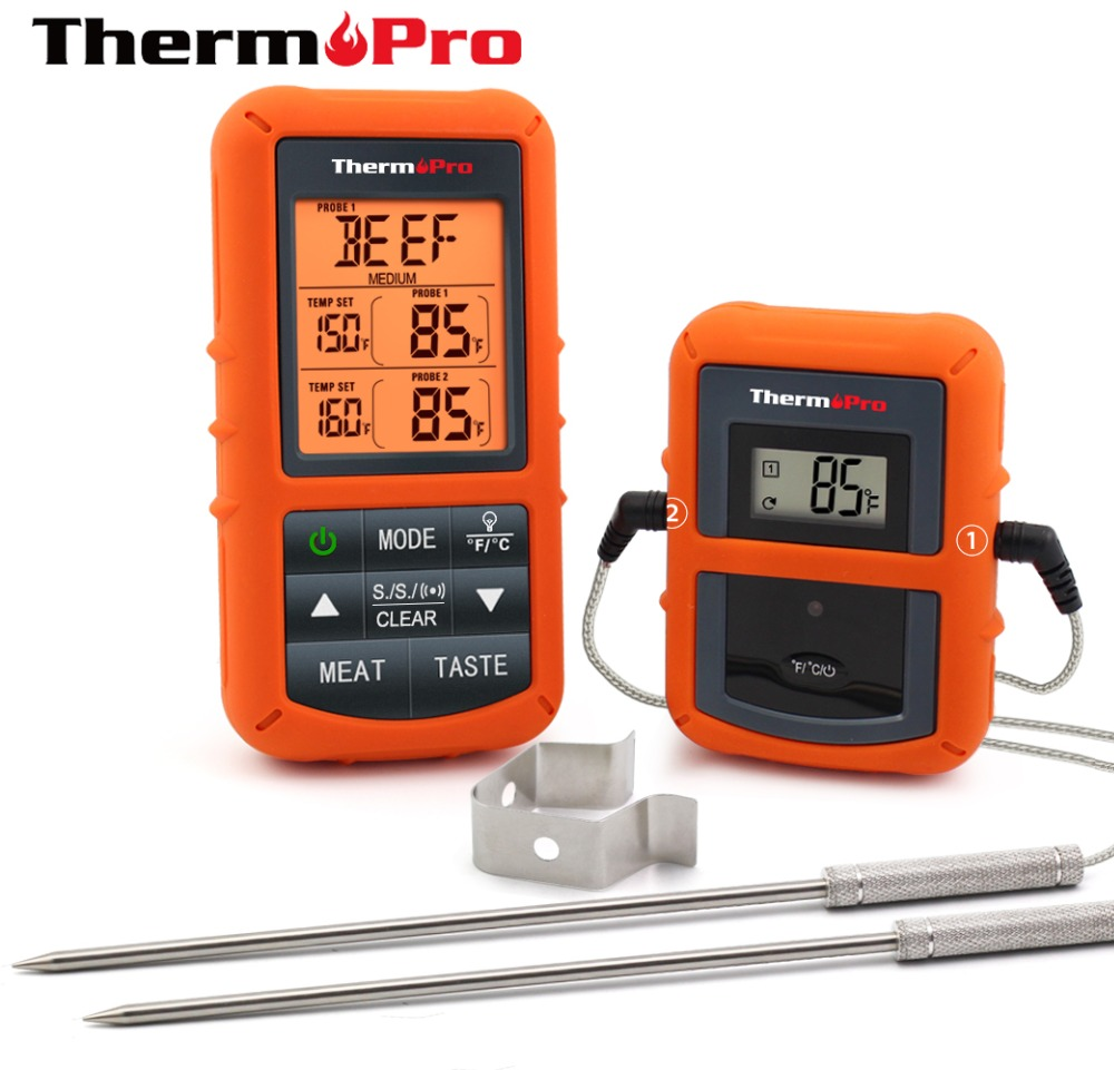 ThermoPro TP-20 Remote Wireless Digital Meat BBQ, Oven Thermometer Home Use Stainless Steel Probe Large Screen With Timer(China)