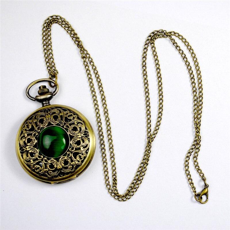 New Fashion Nursing Watch Quartz Pocket Watch Big Hollow Emerald Stone Vintage Necklace Pendant Clock Chain Mens Womens Gifts