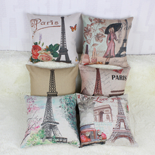 45 *45cm Vintage Eiffel Tower,Triumphal arch Paris Throw Pillow Covers Sofa Seat Cheap Cushion fashion scandinavian style