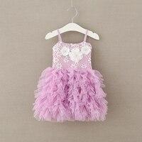 New Baby Girls Sweet Lace Mesh Ball Sling Dresses Princess Kids Fairy Purple Clothing 5 Pcs
