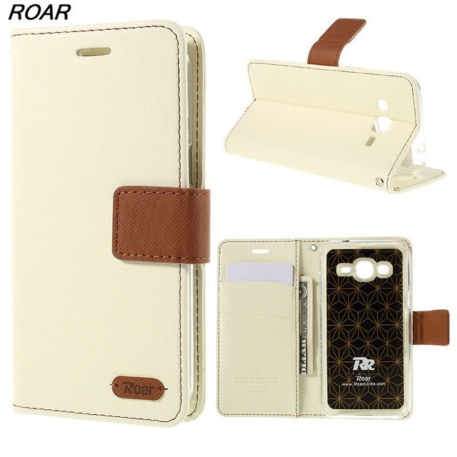 For Samsung J2 Case Original ROAR KOREA Twill Wallet Protector Leather Case for Samsung Galaxy J2 SM-J200 Wtih Retail Package