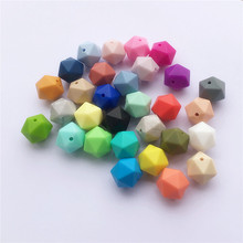 Chenkai 50pcs BPA Free 17mm Silicone Icosahdron Teether Beads DIY Multisurface Baby Shower Pacifier Dummy Teething Sensory Toy