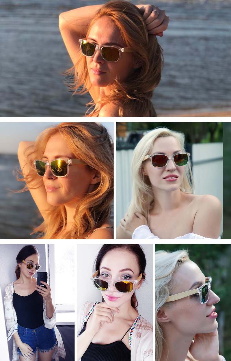 Clear Color Polarized Wood Bamboo Sunglasses For Women. 31
