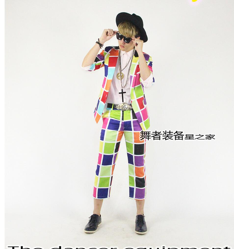 Hot New Men's Clothing Colorful Candy-colored Grid Suit Jacket Slim Personality Bar Nightclub Suit Sets Singer Stage Costumes