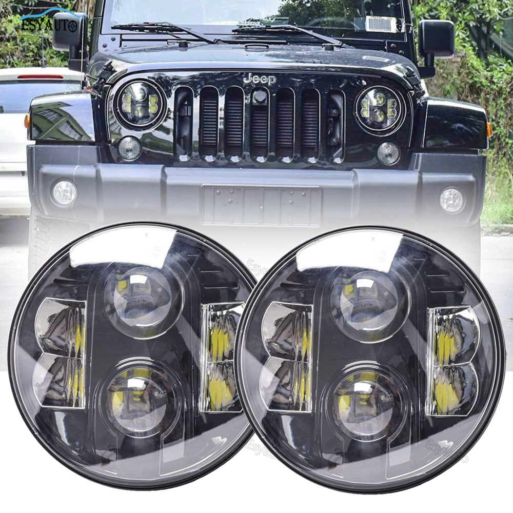 7 inch Headlights Car LED Lamp Certified by E9 LED Light 7'' High Low Beam 80W white DRL for Jeep Wrangler accessories слесарно монтажный набор с квадратом 1 2 sparta 135065