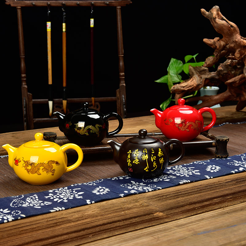 Tea Ornament Retro Kung Fu Tea Set Household Single Item Small Tea Cup Tea Pot Leak Bowl Coffee cups Multi color can choose