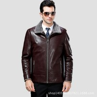 Men Winter High Quality Comfort Leather Jacket Mens 2017 New Spring Turn Down Collar Genuine Leather