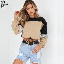 DayLook Chic Hoodies Long Sleeve Loose Crop Top Sweatshirt Casual Patchwork Neck Elastic Waist Pullovers Girls Streetwear