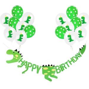 Dinosaur Party Supplies Dinosaur Balloons Paper Garland for Kids Boy Birthday Party Decoration jurassic world jungle party decor(China)