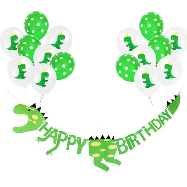 Suministros de fiesta de dinosaurio globos de dinosaurio guirnalda de papel para niños niño decoración de fiesta de cumpleaños Jurásico decoración del Partido de la selva del mundo