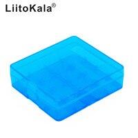 LiitoKala-estuche de batería de plástico transparente, estuche protector de batería azul duro, caja de almacenamiento 18650, 4x18650