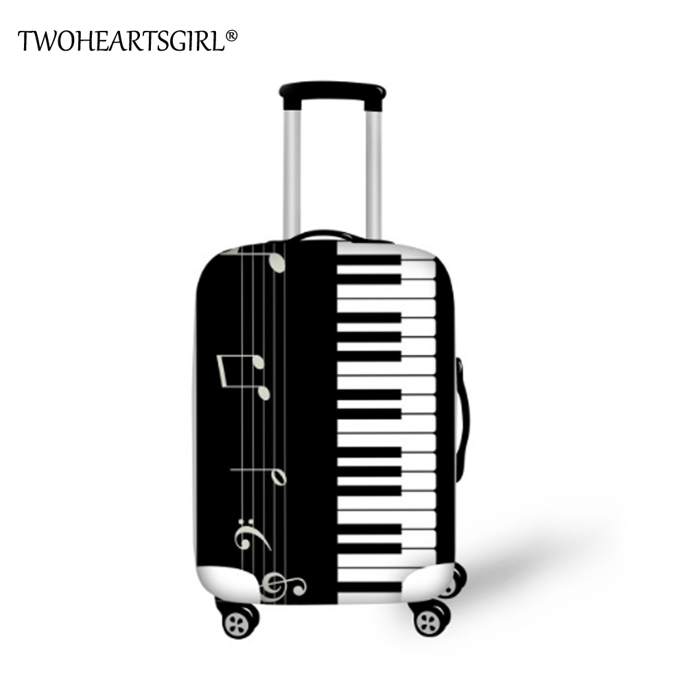TWOHEARTSGIRL Travel Accessories Music Piano Print Luggage Covers For Trolley Suitcase Covers Elastic Luggage Protective Covers