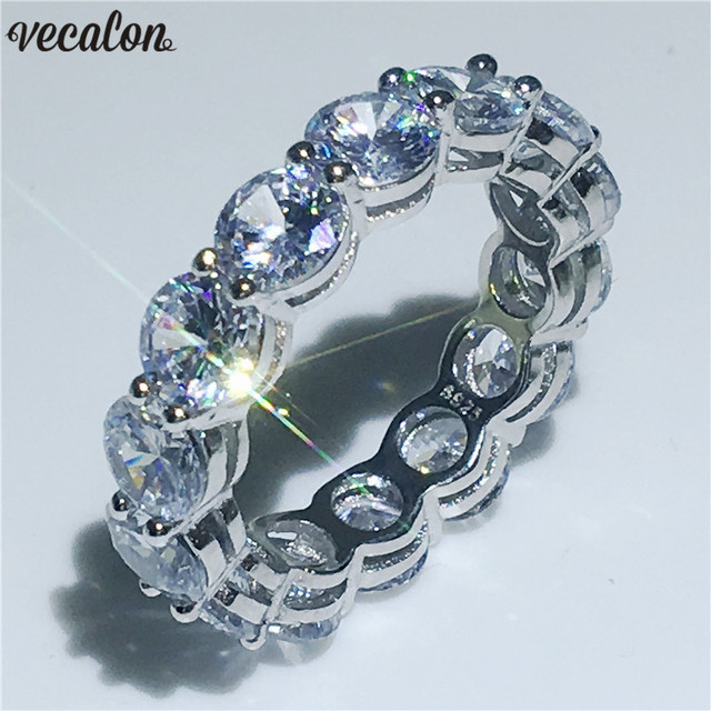Vecalon Fine Wedding Band ring Round 6mm 5A Zircon Sona Cz 925 Sterling Silver Engagement rings for women Men Finger Jewelry
