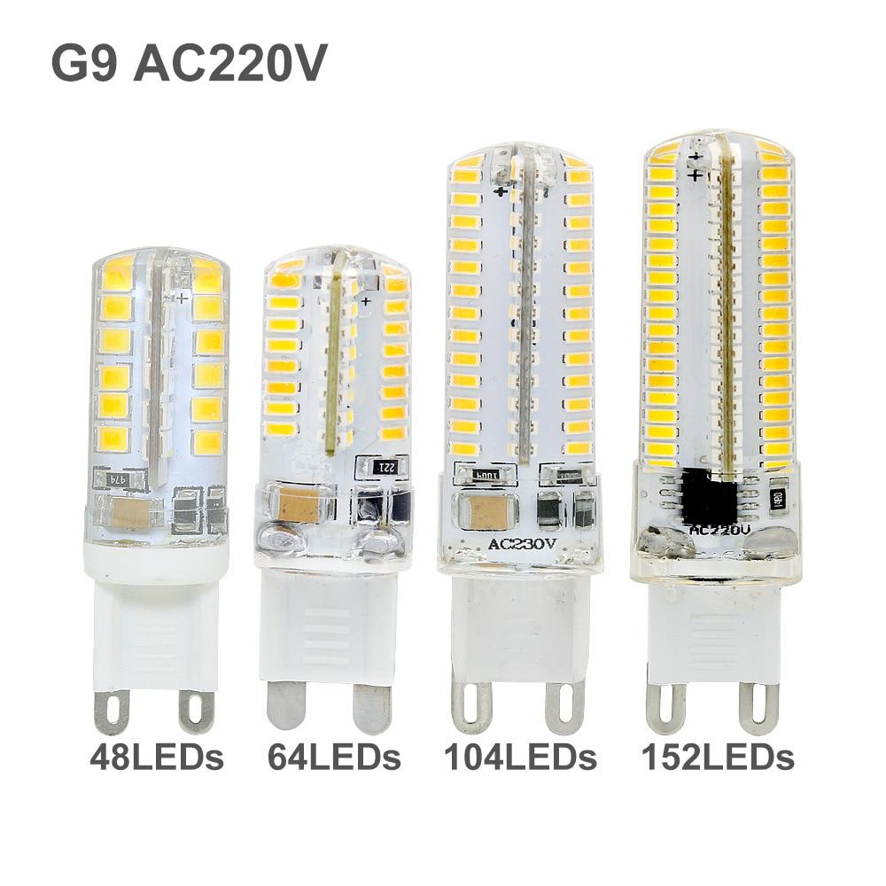 1 pièces Silicone Ampoule G9 led Ampoule de maïs AC 220V lampe de projecteur 48 64 104 152led s remplacer 20W 30W 40W 50W lampe halogène