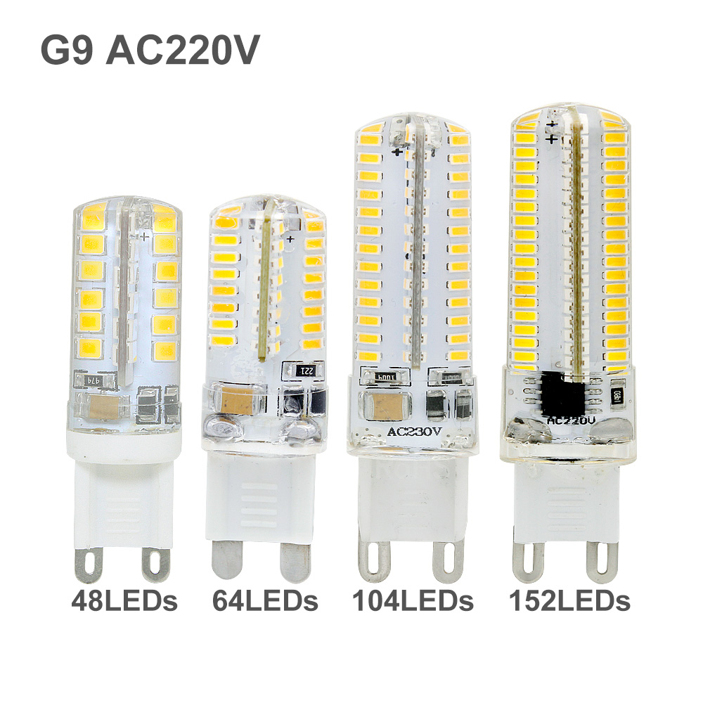 1pcs Silicone Ampoule G9 LED Corn Bulb AC 220V Spotlight Lamp 48 64 104 152leds Replace 20W 30W 40W 50W Halogen Light Lamparas