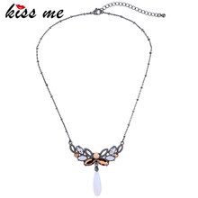KISS ME New Elegant Thin Chain Flowers Necklaces & Pendants Simple Fashion Jewelry Women Bijoux(China)