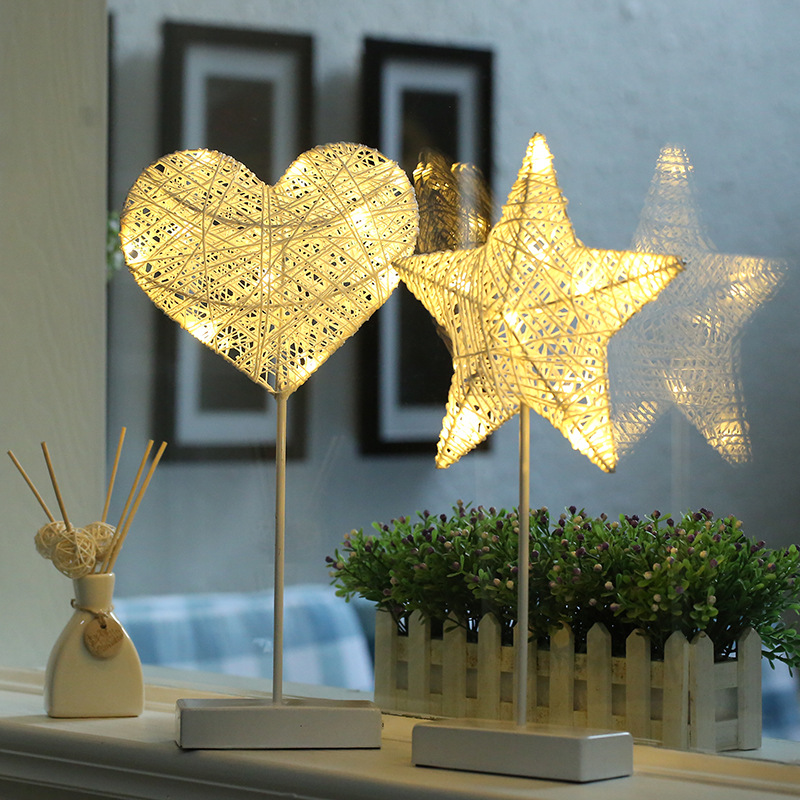 Star Heart Shape Grass Rattan Woven LED Night Light Girls Bedroom Sleeping Decorative Table Lamp Kids Gift Toy ...