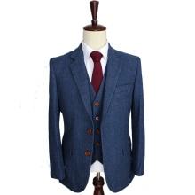 Шерстяные синие мужские костюмы в стиле ретро, в елочку, на заказ, мужской костюм, Блейзер, костюмы для мужчин, 3 предмета(пиджак+ брюки+ жилет