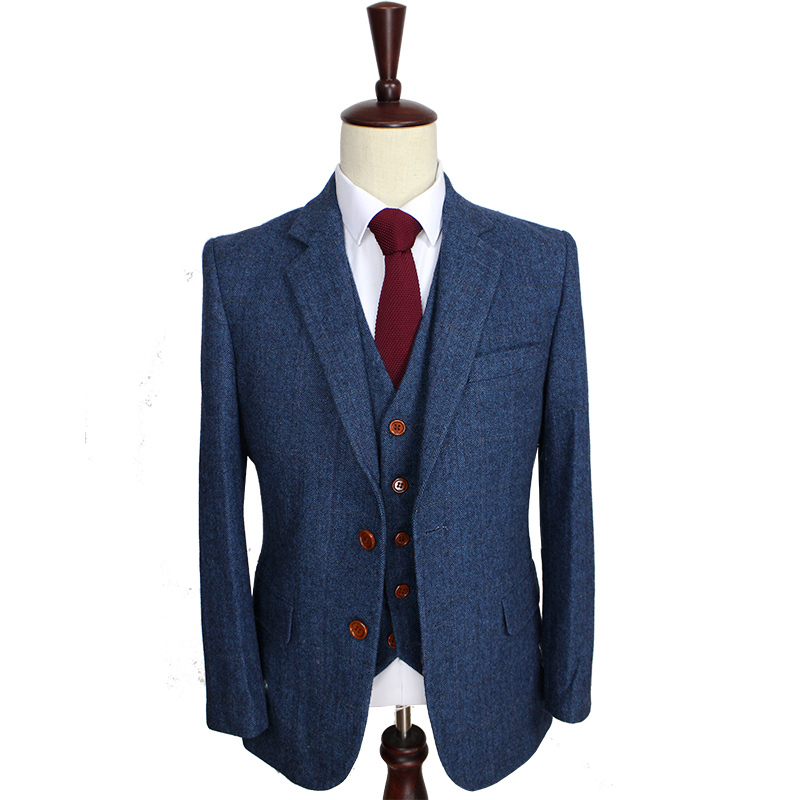 Blue Herringbone Retro gentleman style Men custom made suits tailor made suits Blazer men suits for wedding(Jacket+Pants+Vest) Рубашка