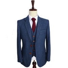 Wool Blue Herringbone Retro gentleman style custom made Mens suits tailor suit Blazer suits for men 3 piece (Jacket+Pants+Vest) cheap BD tailormade 3 pieces(Jacket Pant Vest) Zipper Fly Single Breasted Skinny wedding suits 010 England Style Woolen