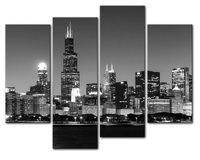 HD Print 4 Panel Wall Art The Most Beautiful City Night View Modern Picture Set Home
