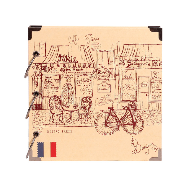 Travel Scrapbook Romantic Paris Vintage Sketch Cover For Vacation