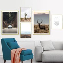 Landscape Canvas Prints Desert Cactus Painting Highway Wall Pictures Posters And Art Decoration Unframed