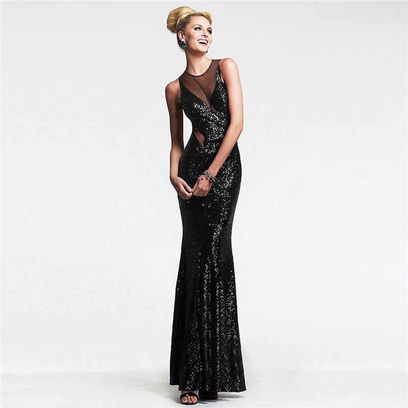 U вечернее длинное облегающее бальное платье, женское Сетчатое лоскутное платье с блестками, полупрозрачное, с открытой спиной, сексуальное, Русалка, подол, макси, Vestido