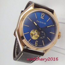 PARNIS Blue Dial Rose Golden Plated Case Sapphire Glass Miyota Luminous Hands Top Brand Luxury Automatic Movement men's Watch 46mm bliger brown dial rose golden case date 2018 top brand luxury sapphire glass luminous hand automatic mechanical men s watch
