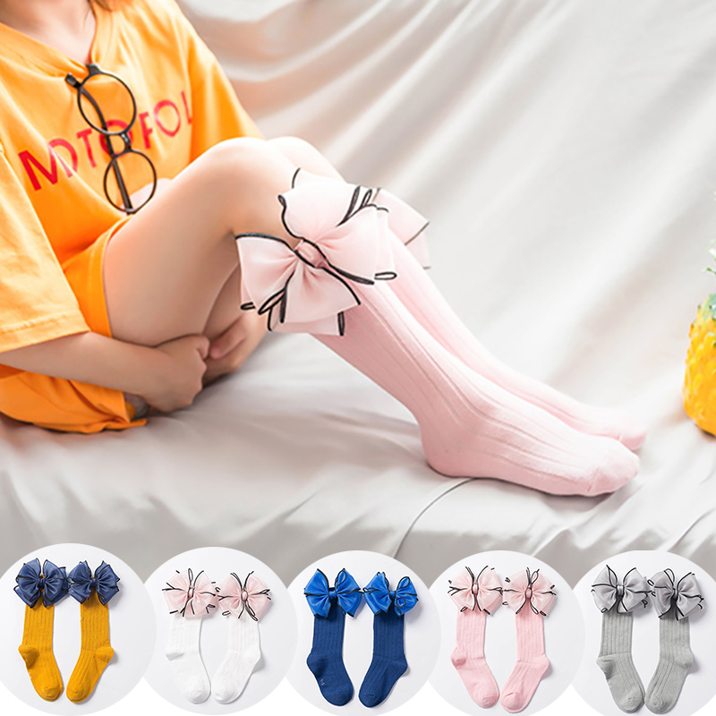 Fashion Children Socks With Bows Baby Girls Sock Knee High Cotton Toddler Long Socks For Kids Candy Color One Pair Infant Sock