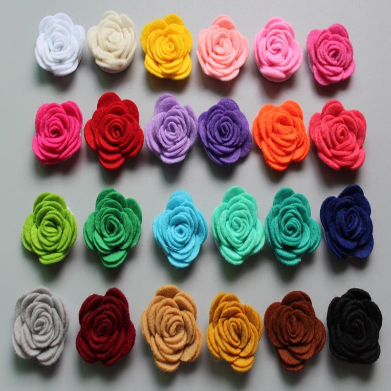 Free Shipping!2016 New 40pcs/lot 24colors Fashion Handmade Felt Rose Flower Diy For Hair Accessories Headband Ornaments
