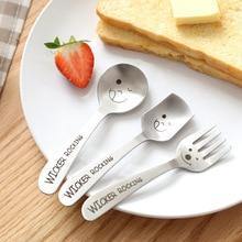 1PC Smile Spoons or Forks Flatware Stainless Steel Cream Tea Coffee Spoon or Fork Tableware Dinnerware for Children Gift  5D