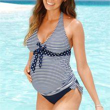 Telotunt swimwear de maternidade Plus Size Maternidade Mulheres Stripe Imprimir Dot Biquínis Bandagem Maiô Beachwear Tankinis Terno JU 27