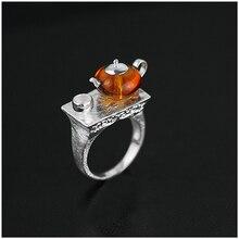 Новое поступление 925 стерлингового серебра Ювелирные изделия  Эксклюзив заварочный чайник дизайн натуральный янтарь кольцо  для женщин  уникальный подарок