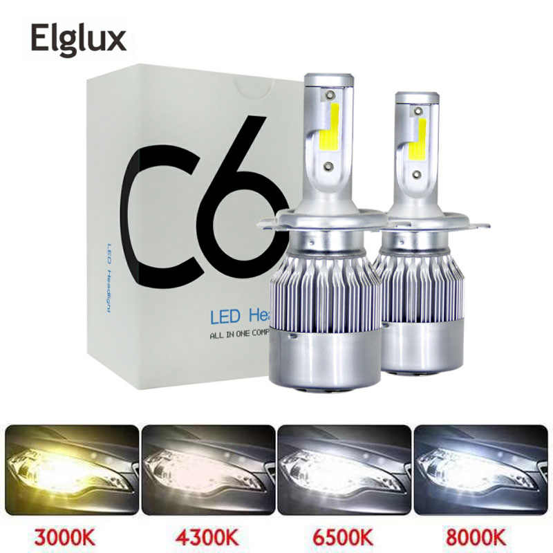 Elglux 2Pcs 3000K Car Lights Bulbs LED H4 H7 9003 HB2 H11 LED H1 H3 H8 H9 880 9005 9006 H13 9004 9007 Auto Headlights Led Lamps