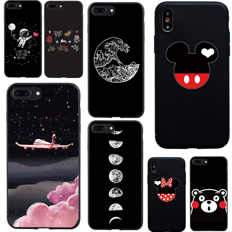 Case For iPhone 6 S Universe Cat Planet Cover For iPhone 7 8 Plus Soft Tpu Case Cute Black