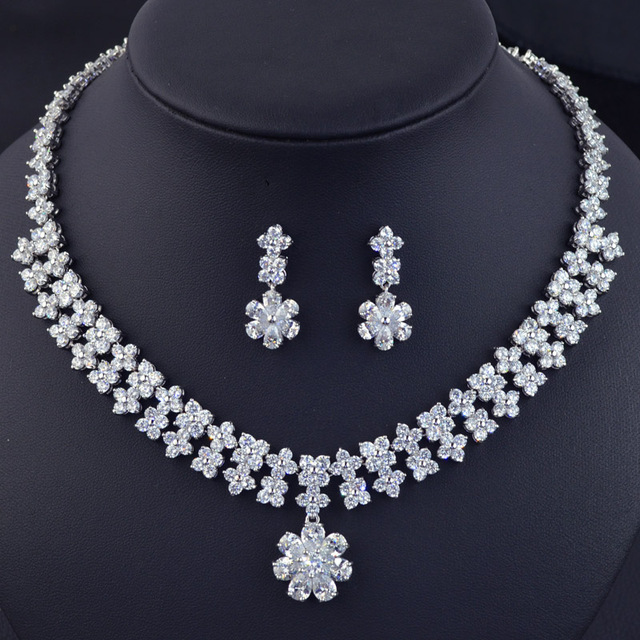 Beautiful Flower Design Wedding Bridal Jewelry Set High Quality Luxury Fashion Aaa Cubic Zirconia Necklace