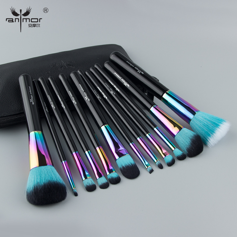 7187ddf7e91d Anmor Rainbow 12PCS Makeup Brushes Foundation Eye Shadow Eyelashes ...