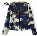 2015 осень зима старинные чернилами блестки вышивание цветов женщин теплое пальто
