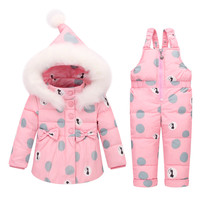 BibiCola infant Winter Kids Clothing Sets Warm toddler Jacket+Jumpsuit Suits For Girls Kids Ski Suit Winter Overalls Pant Sets
