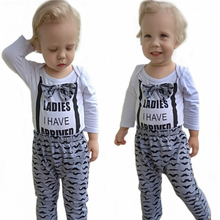 Newborn Clothing Set Baby Boys clothes Set 3Pcs Bow Tie Infant Clothes 0-18 Months Moustache Print Cute Long Sleeve Baby Set