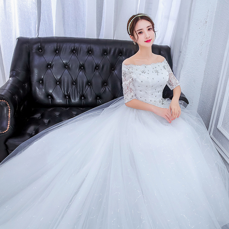 Image 2 - Gorgeous Wedding Dresses Ball Gown Boat Neck Beaded Lace Crystal 