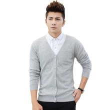 Men's Autumn Winter V Neck Wool Cardigan Sweater Coat Male Solid Color Knitted Sweater Long Sleeve Cardigans Coat Outerwear 2019 цена и фото