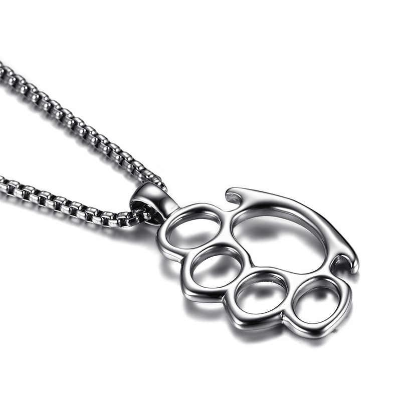 """Mężczyźni Knuckle Duster naszyjnik w srebrny tone ze stali nierdzewnej Hiphop Biker Symbol mężczyzna Collier biżuteria 24"""""""