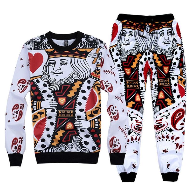 Men's Fashion Clothing Set Hoodies+pants 2 Piece Tracksuits Funny Poker Cards King Print Suits Sportwear Hiphop S-XXL R2400