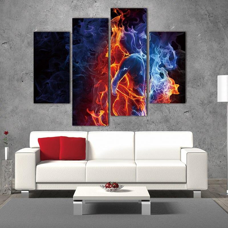 Banmu 4 Панель стены Книги по искусству красный огненный поцелуй каждый Другое синий желтый мужчина и женщина живопись картина печать на холст...