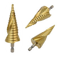 3PCS HSS Spiral Cone Titanium Coated Metal Core Step Drill Bit Set 4 12mm 4 20mm