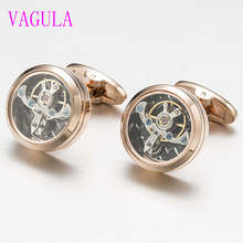 VAGULA 3colors High quality Movement Tourbillon Cuff links Designer Cufflinks Stylish Steampunk Gear Watch Cuffs